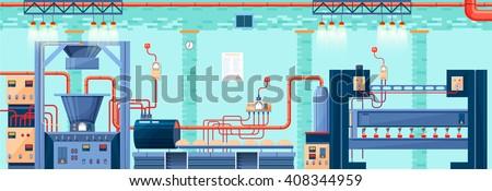 Stock vector illustration interior of plant, factory, bakery and baking production of products in flat style element for info graphic, website, icon