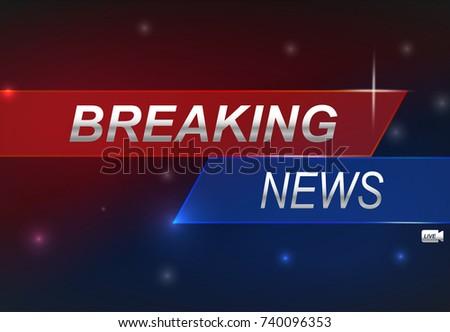 Stock Vector Illustration Logo Breaking News Live Banner
