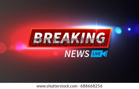 Stock vector illustration logo breaking news live banner. Police lights background, breaking news, bokeh. EPS10