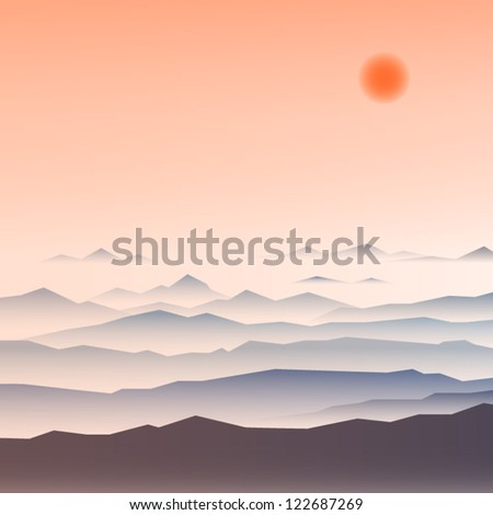 Stock Vector Illustration: mountain ridges.eps10 - stock vector
