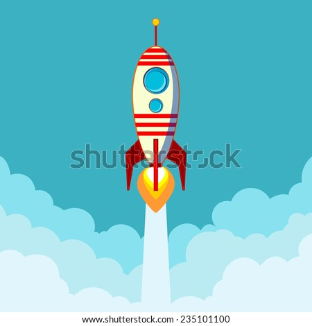 Stock Vector Illustration of a Cartoon Flying Rocket with Illyuminotor and Flames from the Engine with space for text in the clouds Contour vector