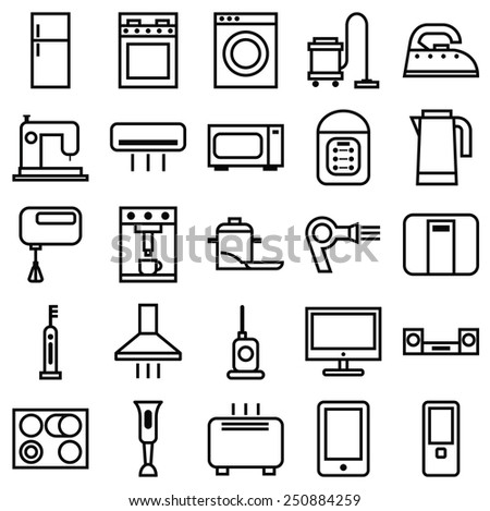 Stock vector illustration of a set of linear icons various house appliances/Home Appliances linear icons/Stock vector illustration of a set of linear icons