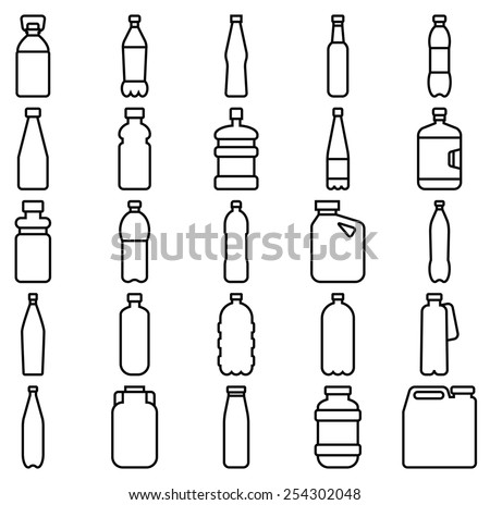 Stock vector illustration of a set of plastic bottles and other containers/Set of plastic bottles and other containers/Stock vector illustration