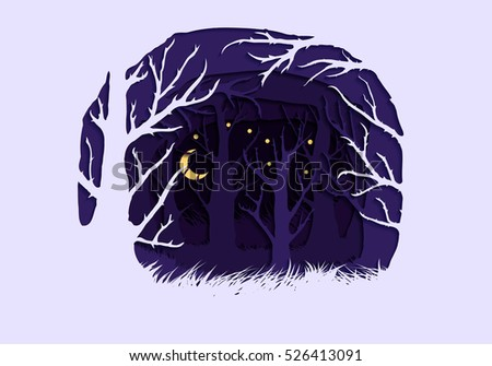Stock vector illustration of abstract nature design element trees, forest, unusual landscape, decor on violet background for printed materials, web sites, greeting cards, covers, wallpaper