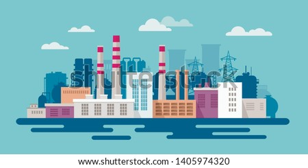 Stock vector illustration of an industrial zone with chemical factories, plants, ironworks, warehouses, enterprises in the flat style