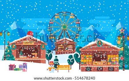Stock vector illustration of Christmas fairs with sale of festive tinsel to celebrate happy new year, flat style on blue background of mountains with snow-capped peaks, snowflakes and Ferris wheel - Shutterstock ID 514678240
