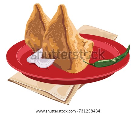 Stock vector illustration of Homemade Samosas served in a red plate with green chilly and onion, scalable artwork