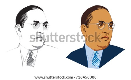 Stock vector illustration of indian freedom fighter late dr babasaheb ambedkar  Stock fotó ©