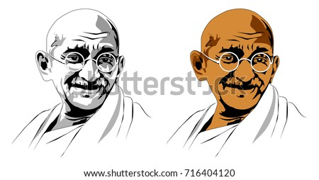 stock vector illustration of Mohandas Karamchand Gandhi or mahatma gandhi, great Indian freedom fighter who promoted non voilence