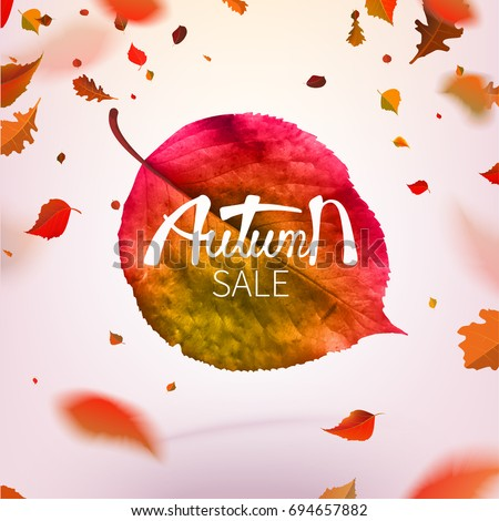 Stock vector illustration sale Autumn falling leaves. Autumnal foliage fall and poplar leaf flying in wind motion blur. Autumn design. Templates for placards, banners, flyers, presentations, reports.