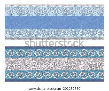 Stock vector illustration seamless mosaic border in antique style/Seamless mosaic border in antique style/Stock vector illustration