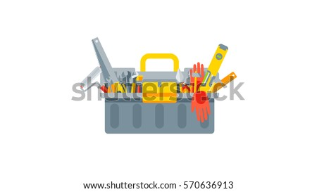 Stock vector illustration set isolated icon closed tool box building tools repair, construction of buildings, drill, hammer, screwdriver, saw, putty knife, ruler, helmet, roller, brush, kit flat style