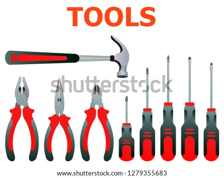 Stock vector illustration set isolated icons building tools repair, construction buildings, screwdriver, pliers, hammer.