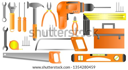 Stock vector illustration set isolated icons building tools repair, construction buildings, drill, hammer, screwdriver, saw, file, ruler, pliers, screws, nails, meter, hacksaw, level, spanner, tool bo