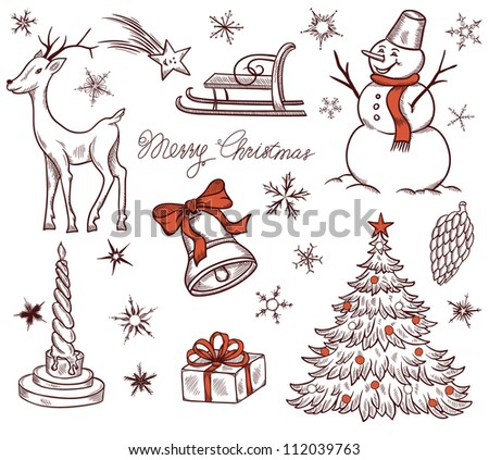 Stock Vector Illustration: Set of Christmas design elements in retro style