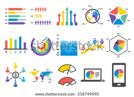 Stock Vector Illustration: Stat icons set 2