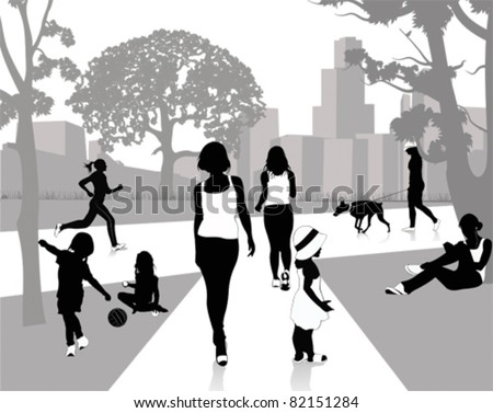 Stock Vector Illustration: Walk in the park