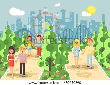 stock vector illustration walk