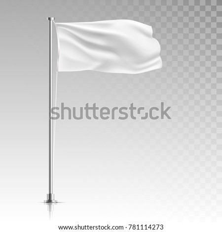 Stock vector illustration. white flag template stand on steel pole isolated on transparent background. Realistic vector illustration waving fabric in the wind on metal pillar.   #781114273