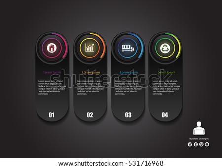 stock vector info graphics design modern glow button business concept
