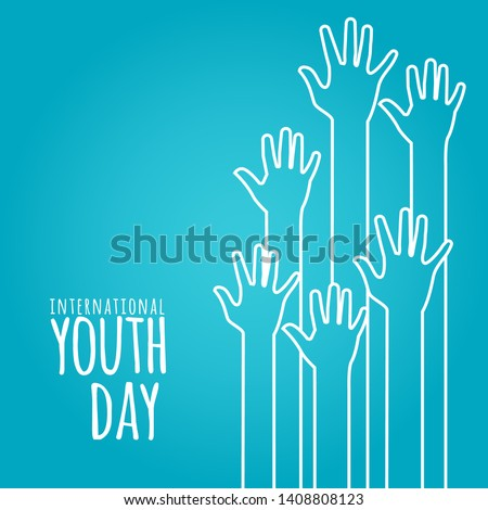 stock vector international youth day,12 August. hands on blue background