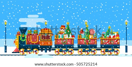 Stock Vector isolated illustration of a Christmas train with gifts, toys, sweets from Santa Claus in flat style is racing among snowdrifts, snowfall, street lamps for info graphic Happy New Year 2017