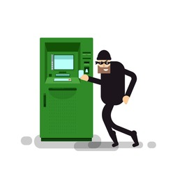 Stock Vector isolated illustration thief steals money from ATM, green cash machines, in black suit, robber on white background, in mask, criminal