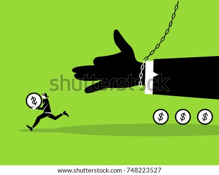 Stock Vector Isolated Illustration Thief With Bag Of Money In Dark Suit Stole