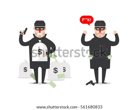 Stock Vector Isolated Illustration Thief With Bags Of Money And Who Has Been Catch