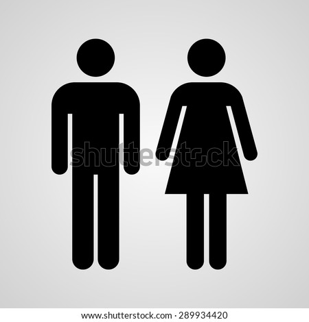Shutterstock Stock Vector Linear icon male and female. Flat design.