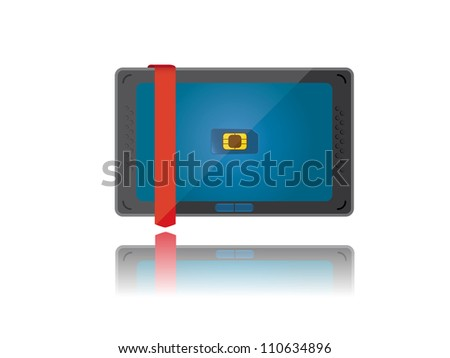 Stock vector modern tablet pc with sim card.