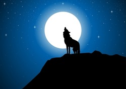 Stock vector of a wolf howling at the full moon