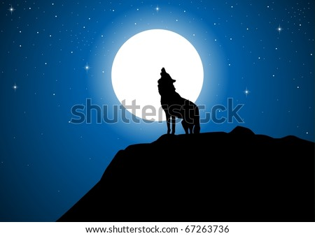 stock vector of a wolf howling