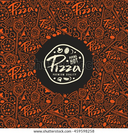 Stock vector pizza cover for boxes. Color print on black background