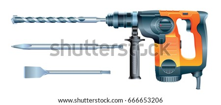 stock vector rotary hammer drill machine and hammer drill bits