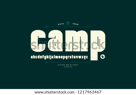 Stock vector sans serif font, alphabet, typography. Extra bold face. Lowercase letters for logo and emblem design