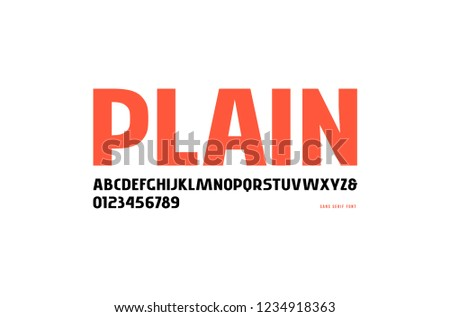Stock vector sans serif font, alphabet, typography. Letters and numbers for logo and headline design. Isolated on white background