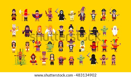 stock vector set of characters