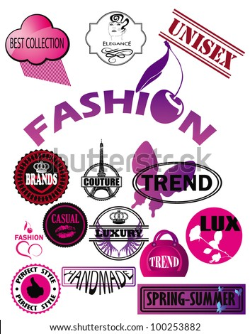 stock vector set of fashion labels