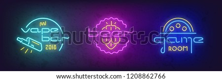 Stock vector set of neon bright signboard vape bar, beer and dame room. Design for emblem, label and logo