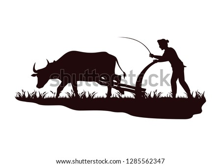 stock vector silhouette farmer plowing cow in the field graphic illustration Сток-фото ©