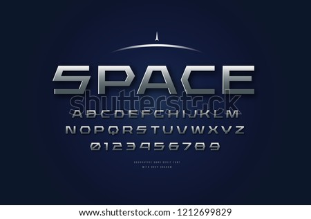 Stock vector silver colored and metal chrome extended font, alphabet, typography. Futuristic style typeset. Letters and numbers for sci-fi, cinema, space logo and headline design