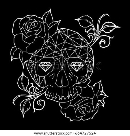 stock vector skull rose