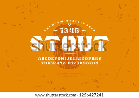 Stock vector stencil-plate serif font and craft beer label template. Letters and numbers for logo and headline design #1256427241