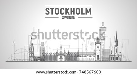 Stockholm ( Sweden ) line skyline with panorama in white background. Vector Illustration. Business travel and tourism concept with modern buildings. Image for presentation, banner, web site.