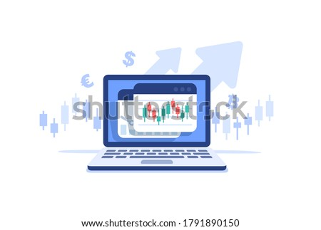 Stocks market graph chart on laptop screen. Technical analysis candlestick chart. Global stock exchanges index. Forex trading concept. Trading strategy. Vector illustration in flat style.