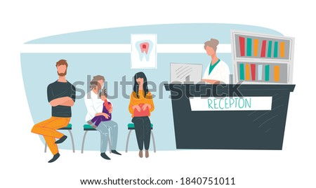 Stomatology clinics stomatology cabinet with patients and receptionist. People waiting in line for dental treatment and care. Healthcare and medicine, modern dentist private hospital vector ストックフォト ©