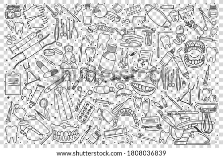 Stomatology doodle set. Collection of hand drawn sketches templates patterns of stomatological equipment dental instruments medical tools on transparent background. Teeth health care illustration. Foto d'archivio ©