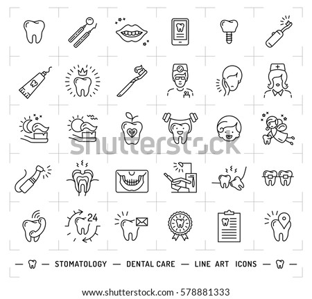 Stomatology icon Dental care logo. Symbols teeth, dentist, smile, caries, implant, office. Dentistry thin line art icons, Vector flat illustration