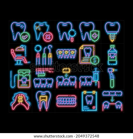 Stomatology neon light sign vector. Glowing bright icon  Stomatology Dentist Equipment And Chair, Healthy And Unhealthy Tooth Pictograms. Jaw Denture, Injection Anesthesia Illustrations Photo stock ©